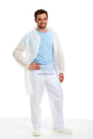 Hygiene und Sicherheit Kittel - Besuchermantel mit Einweghose